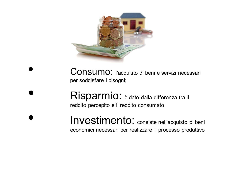 Consumo: l'acquisto di beni e servizi necessari per soddisfare i bisogni; Risparmio: è dato dalla differenza tra il reddito percepito e il reddito con