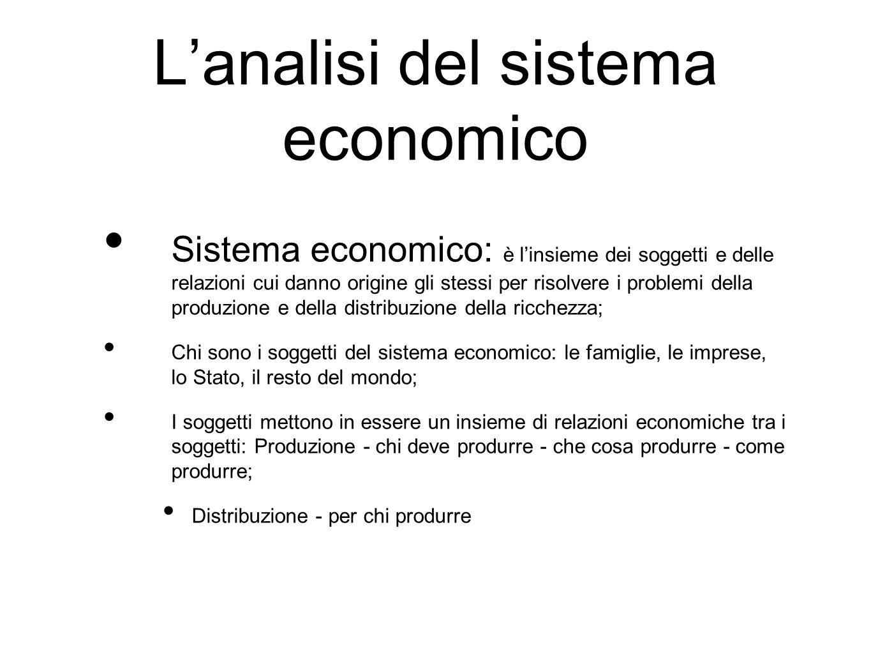 L'analisi del sistema economico Sistema economico: è l'insieme dei soggetti e delle relazioni cui danno origine gli stessi per risolvere i problemi de