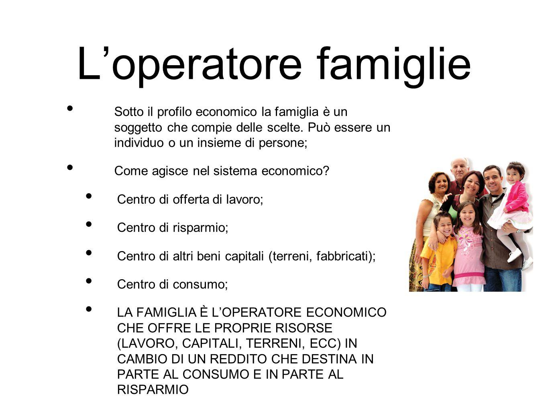 L'operatore famiglie Sotto il profilo economico la famiglia è un soggetto che compie delle scelte. Può essere un individuo o un insieme di persone; Co