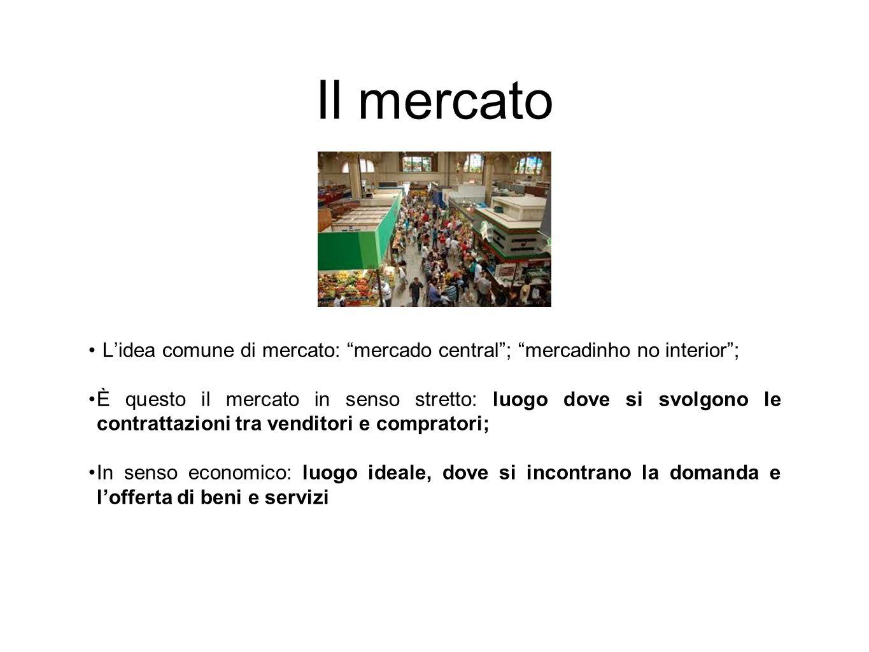 """Il mercato L'idea comune di mercato: """"mercado central""""; """"mercadinho no interior""""; È questo il mercato in senso stretto: luogo dove si svolgono le cont"""