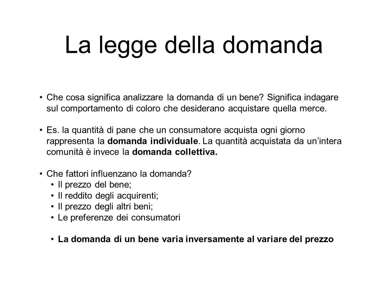 La legge della domanda Che cosa significa analizzare la domanda di un bene? Significa indagare sul comportamento di coloro che desiderano acquistare q