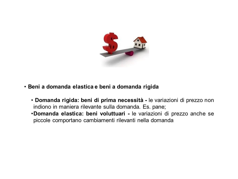 Beni a domanda elastica e beni a domanda rigida Domanda rigida: beni di prima necessità - le variazioni di prezzo non indiono in maniera rilevante sul