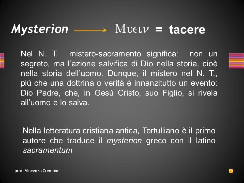 Mysterion Nella letteratura cristiana antica, Tertulliano è il primo autore che traduce il mysterion greco con il latino sacramentum Nel N.