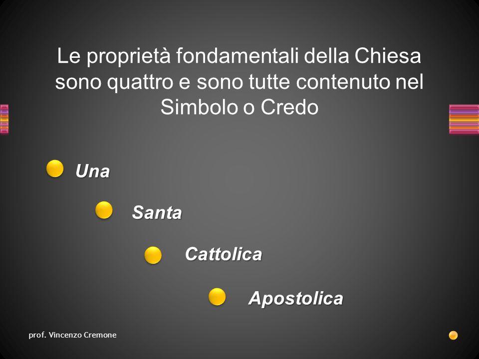 Le proprietà fondamentali della Chiesa sono quattro e sono tutte contenuto nel Simbolo o Credo Apostolica Una Santa Cattolica prof.