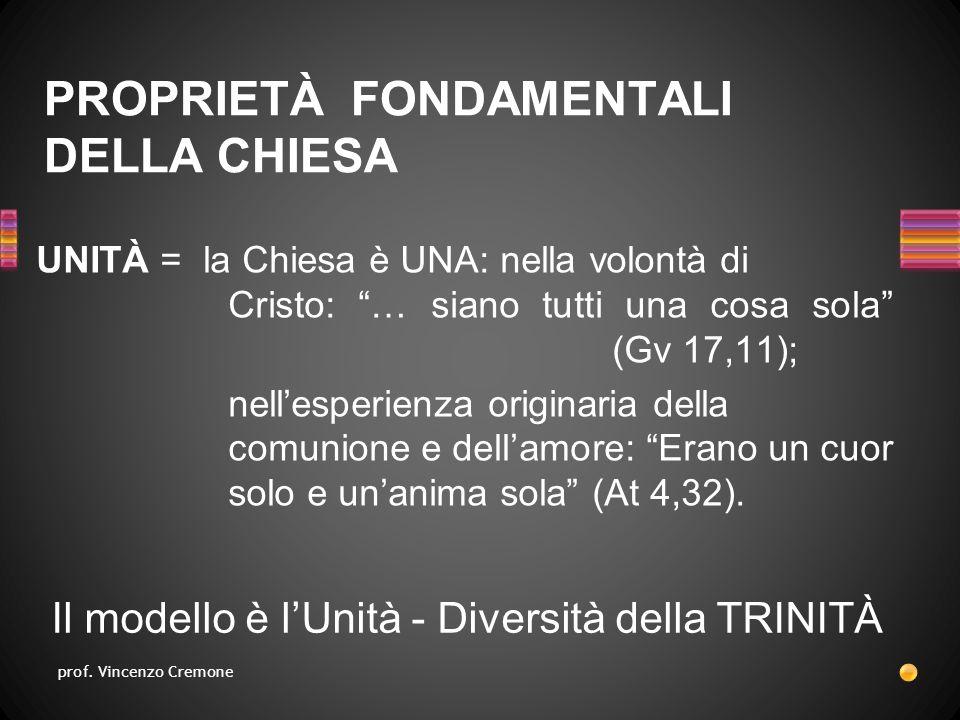 UNITÀ = la Chiesa è UNA: nella volontà di Cristo: … siano tutti una cosa sola (Gv 17,11); nell'esperienza originaria della comunione e dell'amore: Erano un cuor solo e un'anima sola (At 4,32).