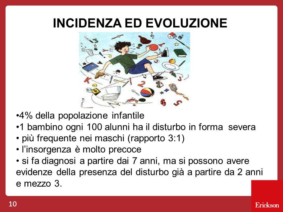10 INCIDENZA ED EVOLUZIONE 4% della popolazione infantile 1 bambino ogni 100 alunni ha il disturbo in forma severa più frequente nei maschi (rapporto
