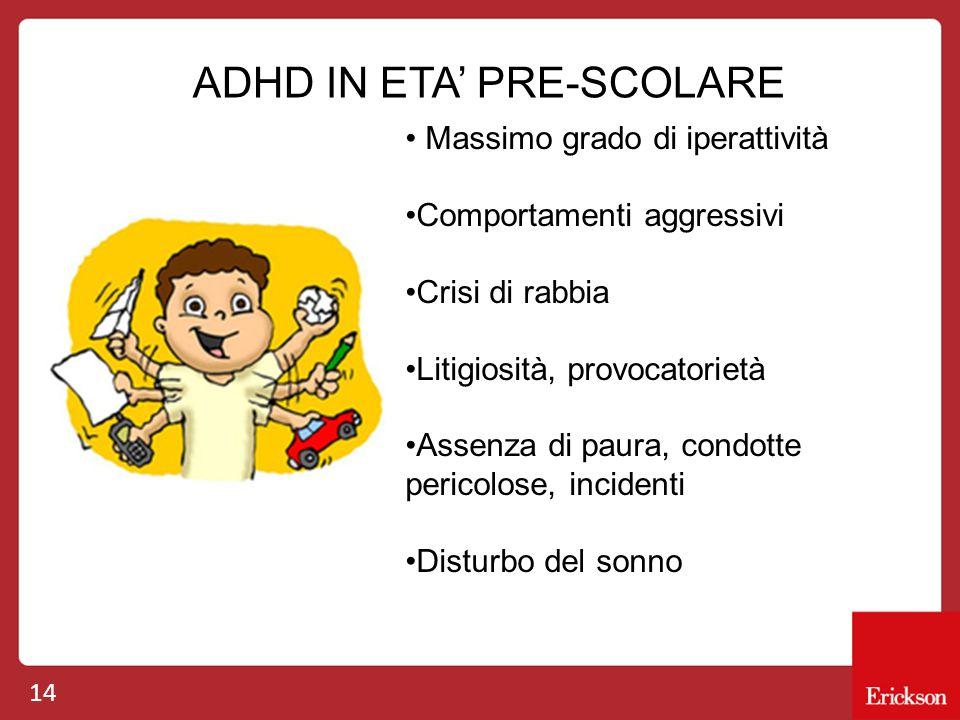 14 ADHD IN ETA' PRE-SCOLARE Massimo grado di iperattività Comportamenti aggressivi Crisi di rabbia Litigiosità, provocatorietà Assenza di paura, condo