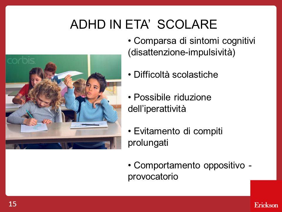 15 ADHD IN ETA' SCOLARE Comparsa di sintomi cognitivi (disattenzione-impulsività) Difficoltà scolastiche Possibile riduzione dell'iperattività Evitame