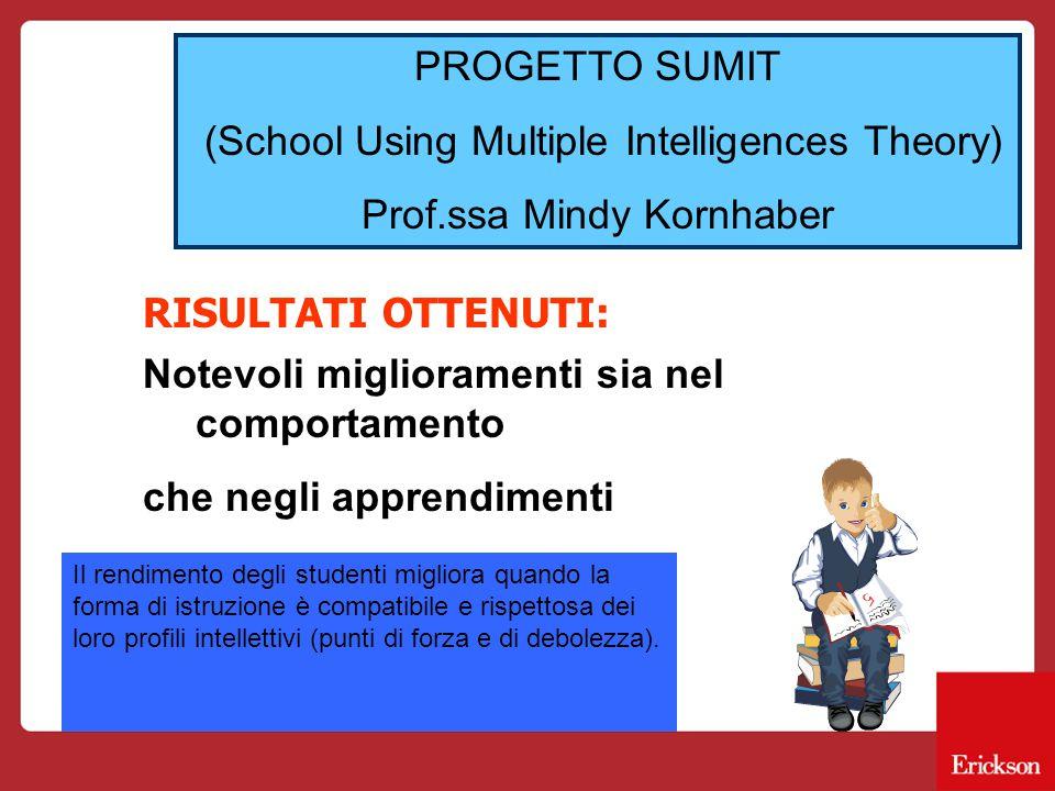 PROGETTO SUMIT (School Using Multiple Intelligences Theory) Prof.ssa Mindy Kornhaber RISULTATI OTTENUTI: Notevoli miglioramenti sia nel comportamento