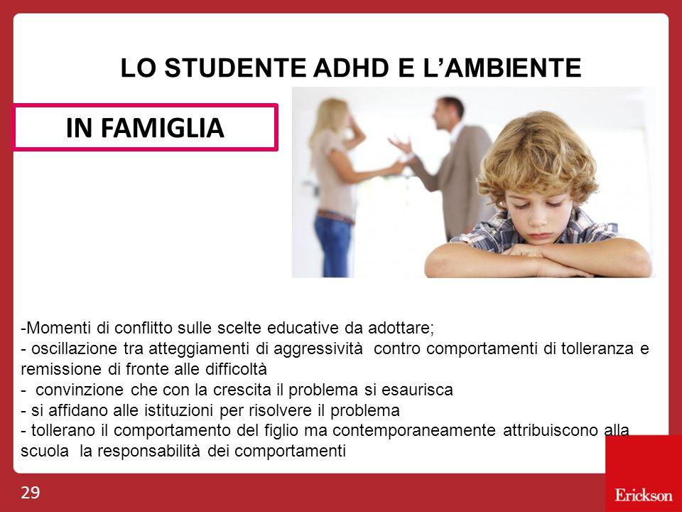 29 LO STUDENTE ADHD E L'AMBIENTE IN FAMIGLIA -Momenti di conflitto sulle scelte educative da adottare; - oscillazione tra atteggiamenti di aggressivit