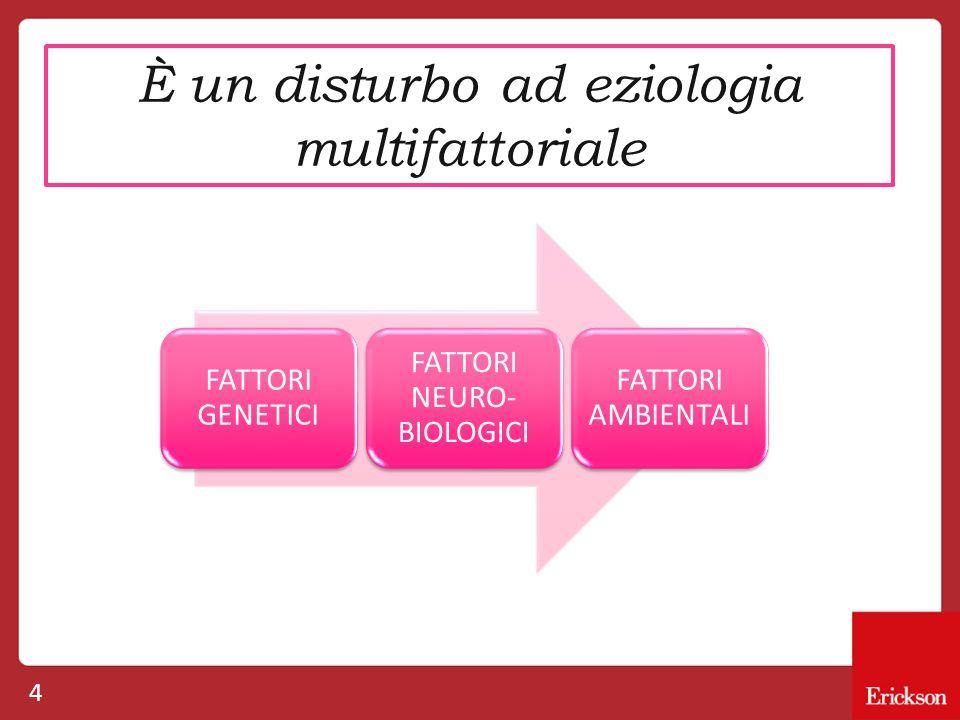 4 È un disturbo ad eziologia multifattoriale FATTORI GENETICI FATTORI NEURO- BIOLOGICI FATTORI AMBIENTALI