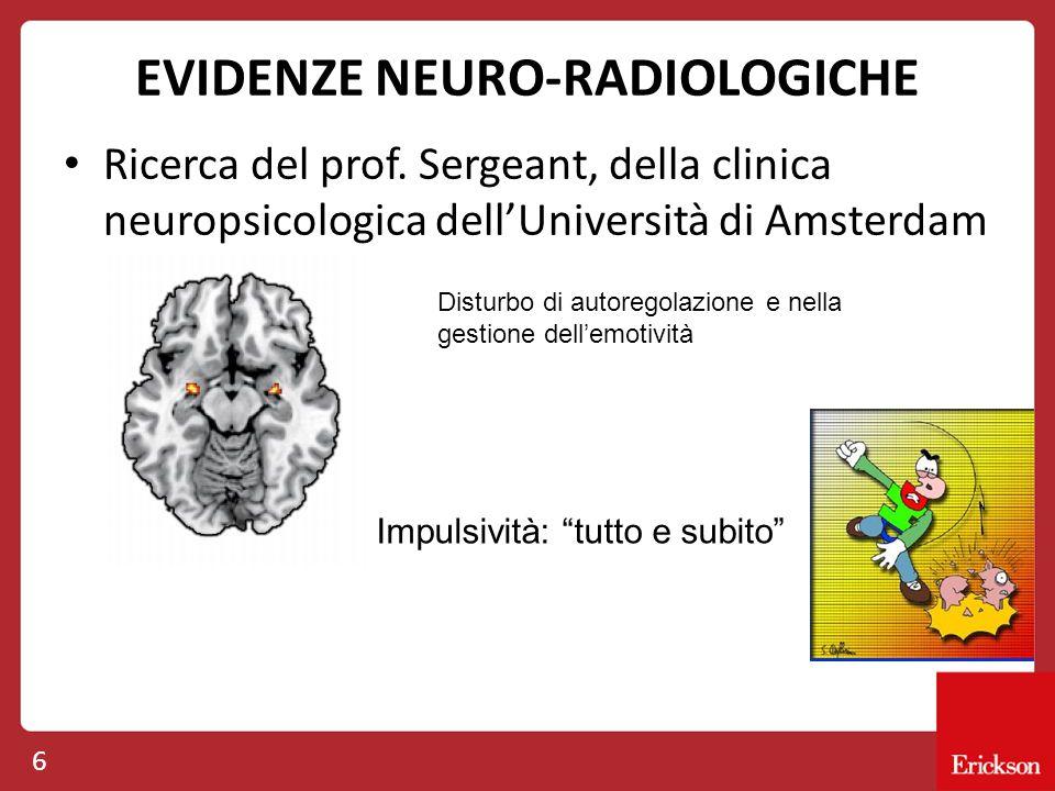 EVIDENZE NEURO-RADIOLOGICHE Ricerca del prof. Sergeant, della clinica neuropsicologica dell'Università di Amsterdam 6 Disturbo di autoregolazione e ne