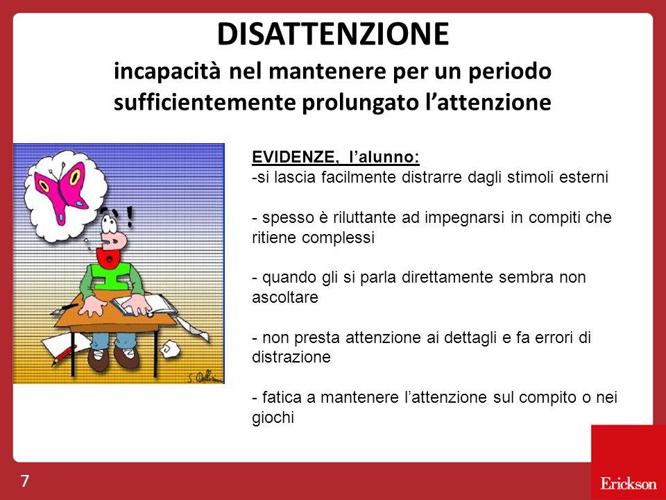 DISATTENZIONE incapacità nel mantenere per un periodo sufficientemente prolungato l'attenzione 7 EVIDENZE, l'alunno: -si lascia facilmente distrarre d