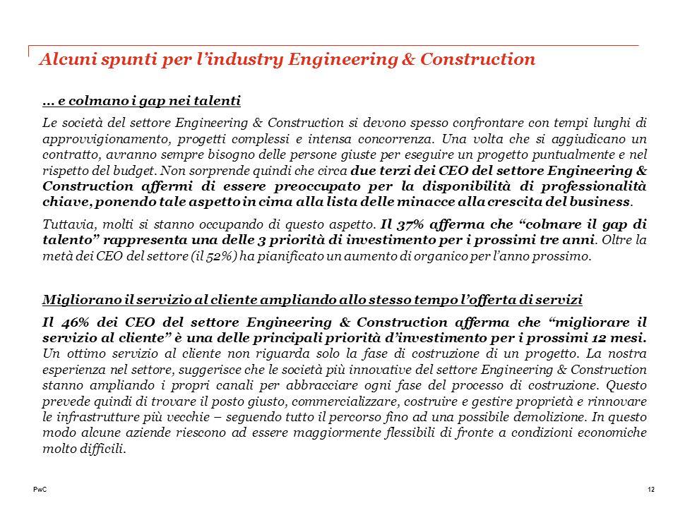 12PwC … e colmano i gap nei talenti Le società del settore Engineering & Construction si devono spesso confrontare con tempi lunghi di approvvigioname