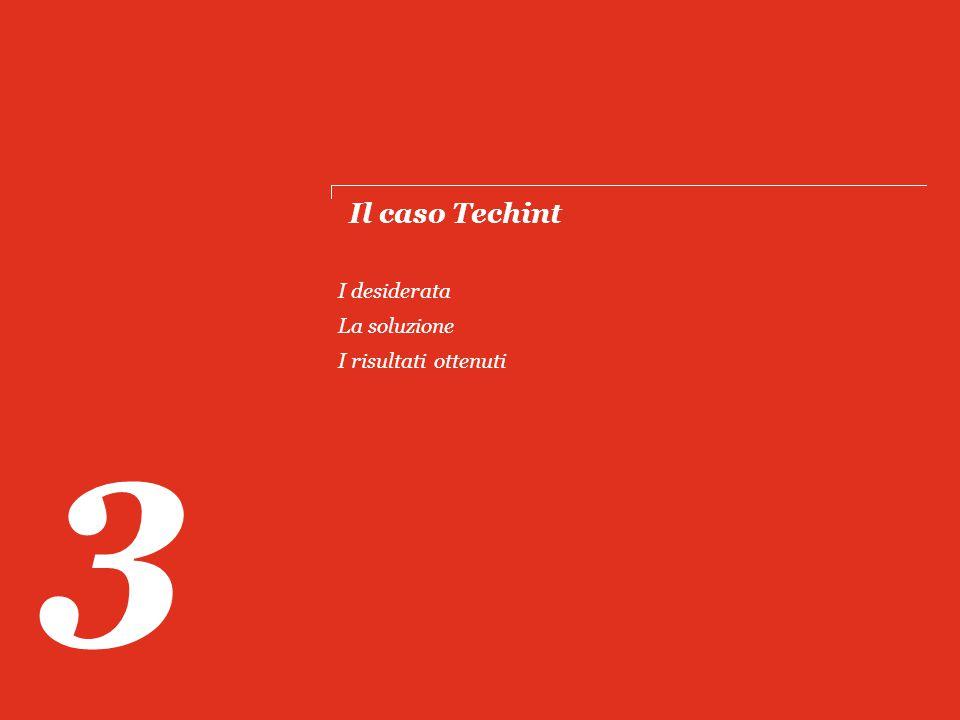 Il caso Techint 3 I desiderata La soluzione I risultati ottenuti