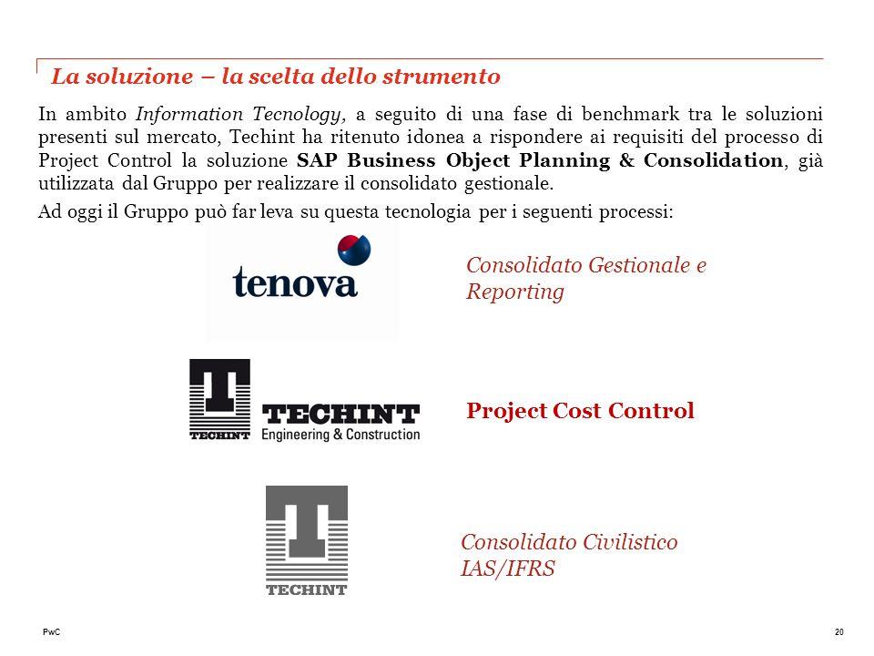 20PwC La soluzione – la scelta dello strumento In ambito Information Tecnology, a seguito di una fase di benchmark tra le soluzioni presenti sul merca
