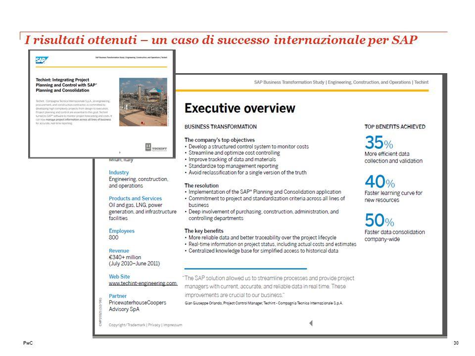 30PwC I risultati ottenuti – un caso di successo internazionale per SAP