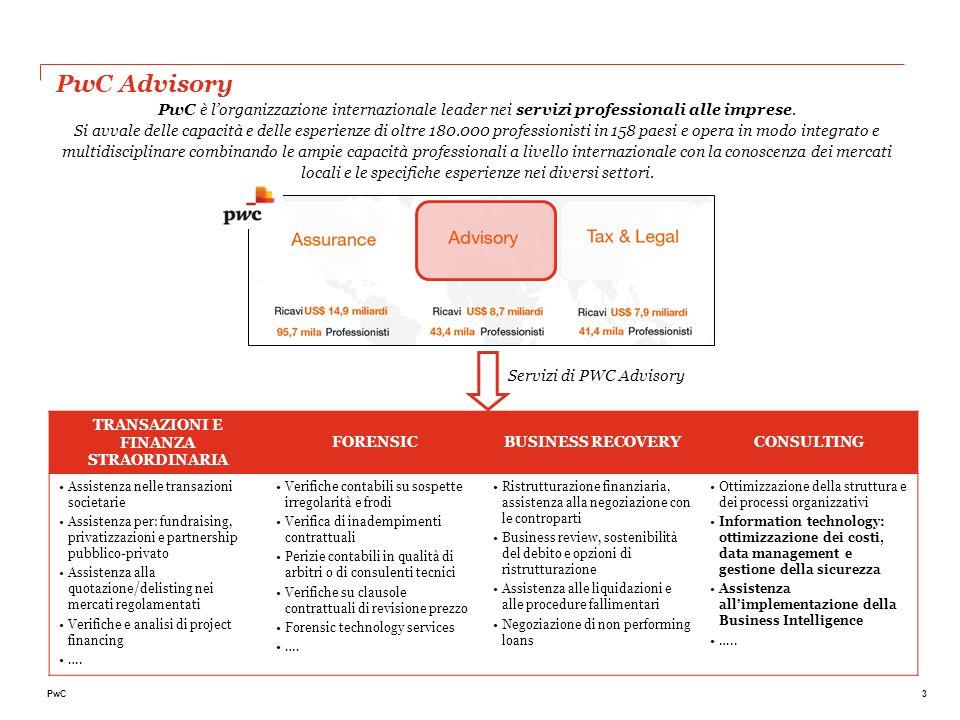 3PwC PwC Advisory PwC è l'organizzazione internazionale leader nei servizi professionali alle imprese. Si avvale delle capacità e delle esperienze di