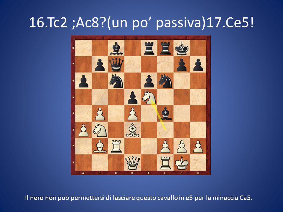 16.Tc2 ;Ac8?(un po' passiva)17.Ce5! Il nero non può permettersi di lasciare questo cavallo in e5 per la minaccia Ca5.