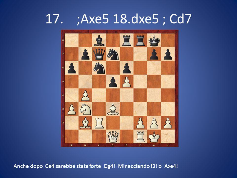 17. ;Axe5 18.dxe5 ; Cd7 Anche dopo Ce4 sarebbe stata forte Dg4! Minacciando f3! o Axe4!