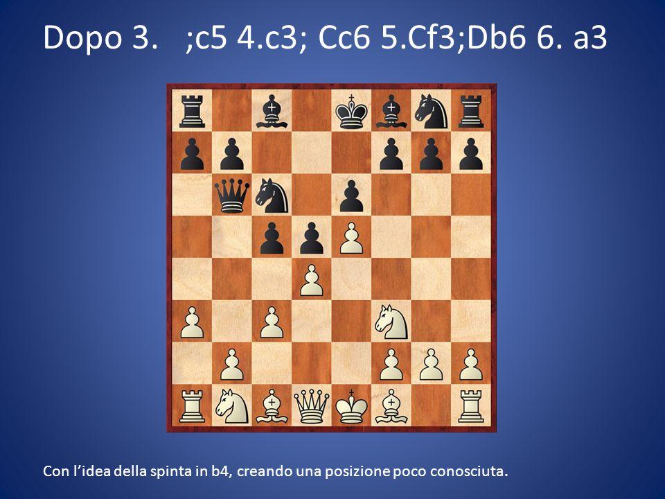 Dopo 3. ;c5 4.c3; Cc6 5.Cf3;Db6 6. a3 Con l'idea della spinta in b4, creando una posizione poco conosciuta.