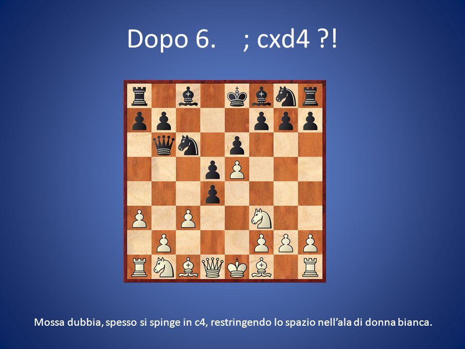 Dopo 6. ; cxd4 ?! Mossa dubbia, spesso si spinge in c4, restringendo lo spazio nell'ala di donna bianca.