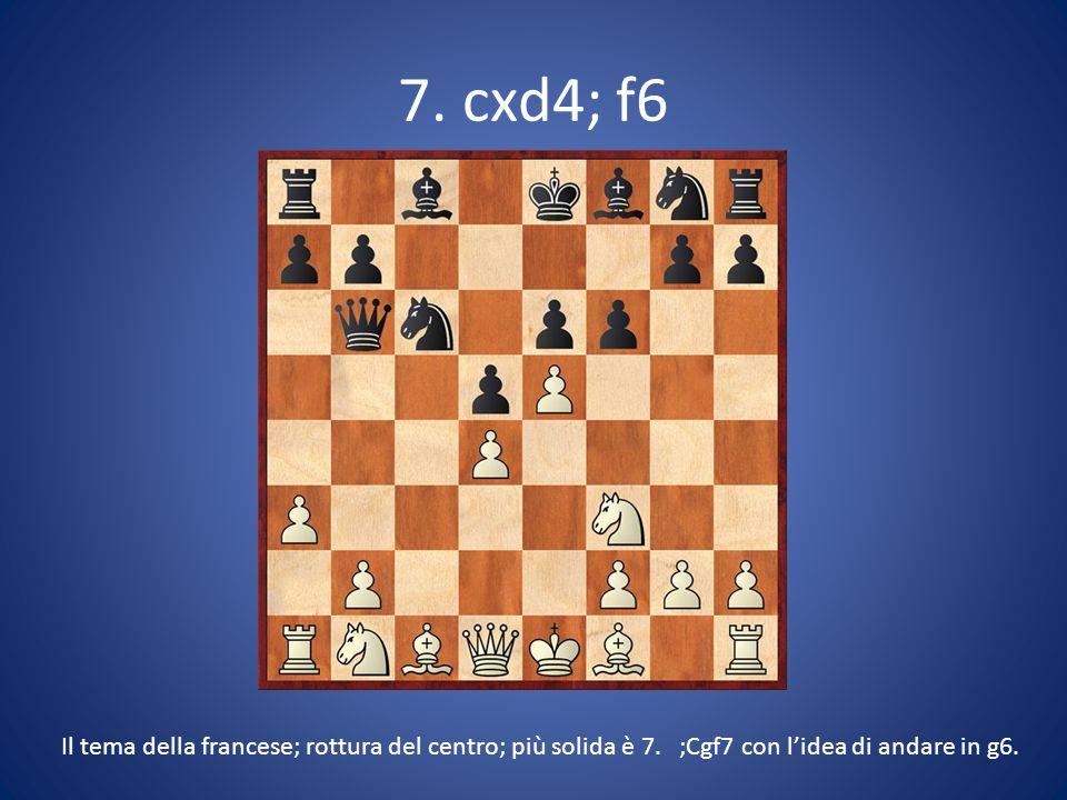 7. cxd4; f6 Il tema della francese; rottura del centro; più solida è 7. ;Cgf7 con l'idea di andare in g6.