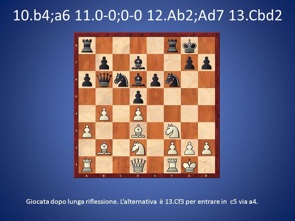 10.b4;a6 11.0-0;0-0 12.Ab2;Ad7 13.Cbd2 Giocata dopo lunga riflessione. L'alternativa è 13.Cf3 per entrare in c5 via a4.