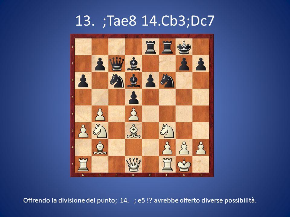 13. ;Tae8 14.Cb3;Dc7 Offrendo la divisione del punto; 14. ; e5 !? avrebbe offerto diverse possibilità.
