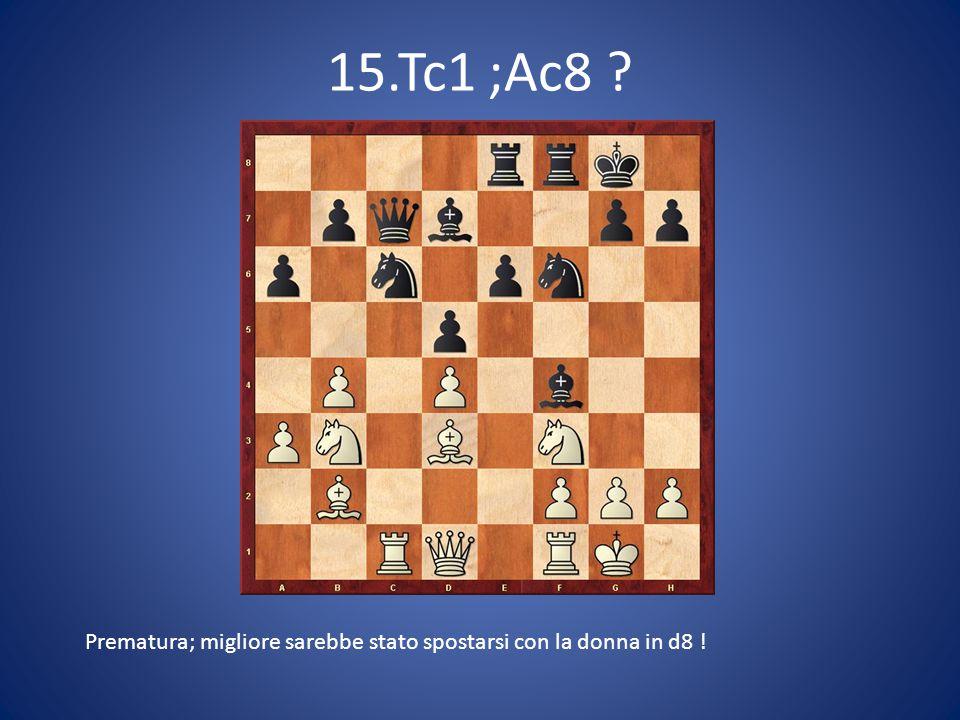 15.Tc1 ;Ac8 Prematura; migliore sarebbe stato spostarsi con la donna in d8 !