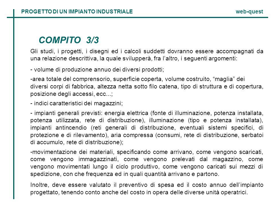 COMPITO 3/3 Gli studi, i progetti, i disegni ed i calcoli suddetti dovranno essere accompagnati da una relazione descrittiva, la quale svilupperà, fra