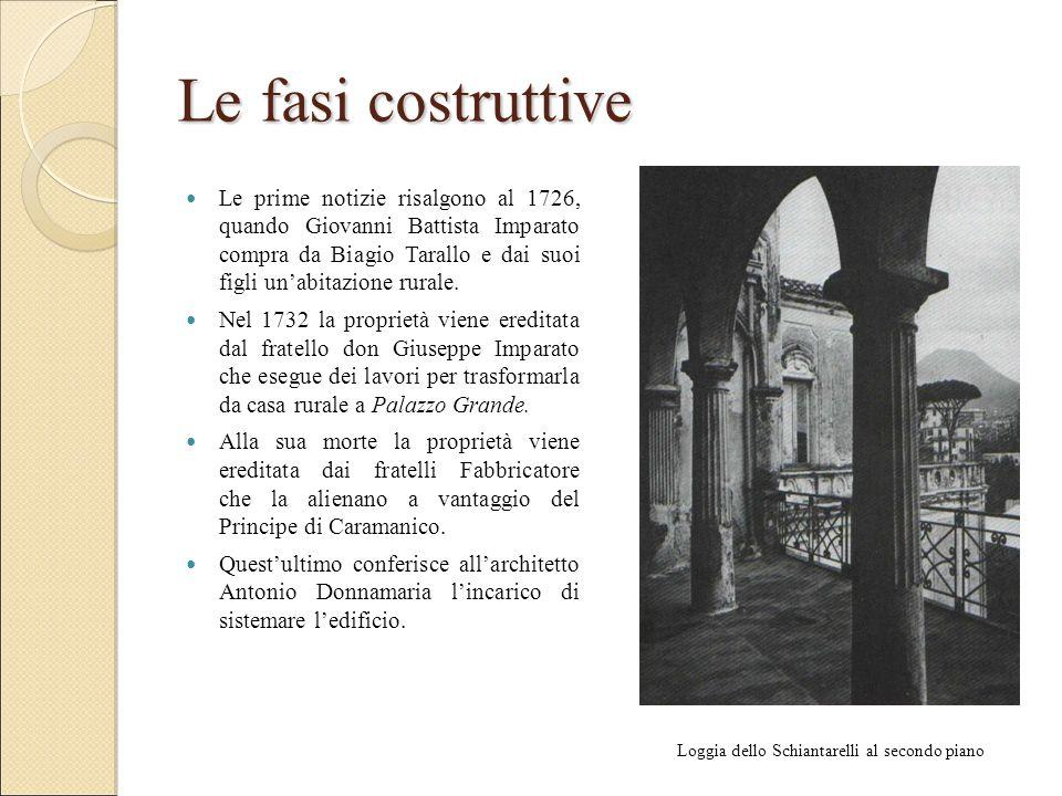 Le fasi costruttive Le prime notizie risalgono al 1726, quando Giovanni Battista Imparato compra da Biagio Tarallo e dai suoi figli un'abitazione rurale.