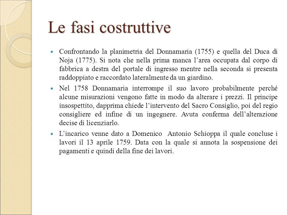 Le fasi costruttive Confrontando la planimetria del Donnamaria (1755) e quella del Duca di Noja (1775). Si nota che nella prima manca l'area occupata