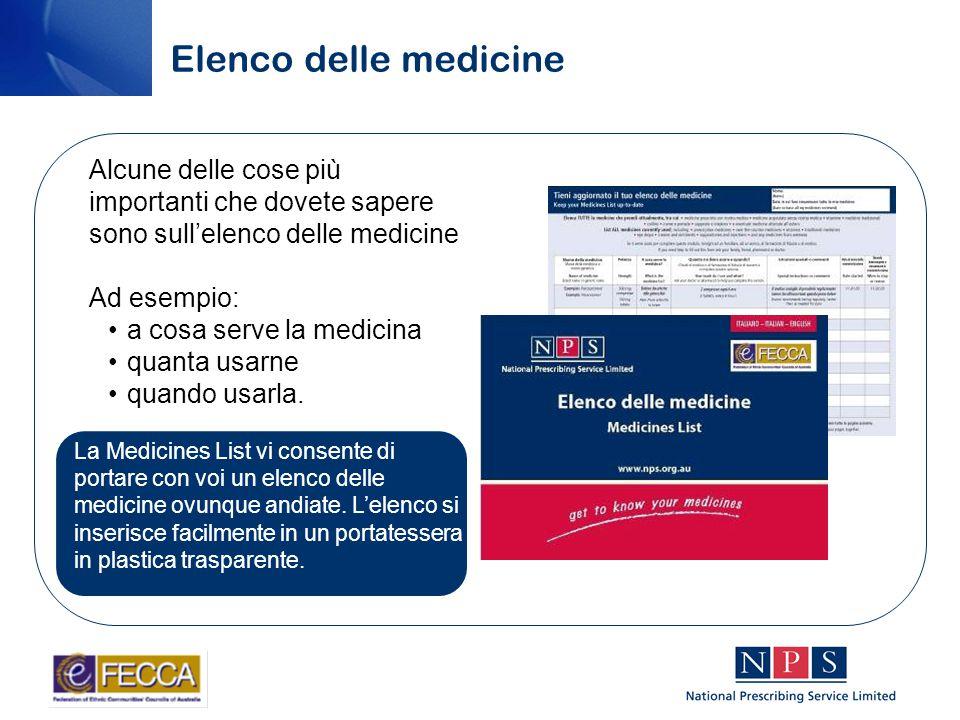 Elenco delle medicine La Medicines List vi consente di portare con voi un elenco delle medicine ovunque andiate.