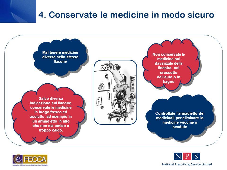 4. Conservate le medicine in modo sicuro Salvo diversa indicazione sul flacone, conservate le medicine in luogo fresco ed asciutto, ad esempio in un a