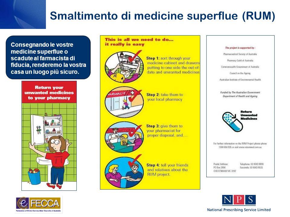 Smaltimento di medicine superflue (RUM) Consegnando le vostre medicine superflue o scadute al farmacista di fiducia, renderemo la vostra casa un luogo più sicuro.