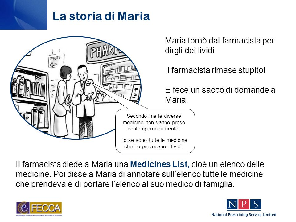 Maria tornò dal farmacista per dirgli dei lividi. Il farmacista rimase stupito.