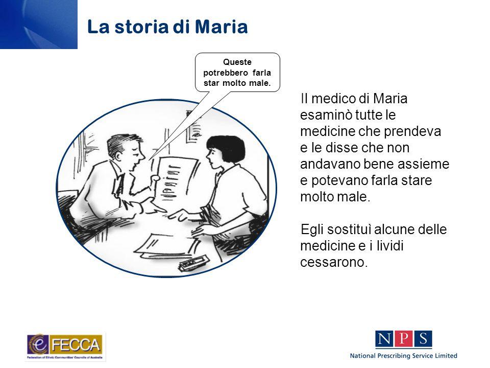 Il medico di Maria esaminò tutte le medicine che prendeva e le disse che non andavano bene assieme e potevano farla stare molto male.