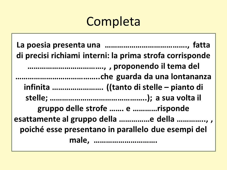 Completa La poesia presenta una …………………………………., fatta di precisi richiami interni: la prima strofa corrisponde ……………………………….,, proponendo il tema del