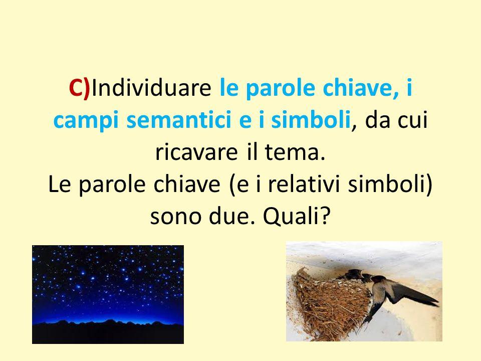 C)Individuare le parole chiave, i campi semantici e i simboli, da cui ricavare il tema. Le parole chiave (e i relativi simboli) sono due. Quali?