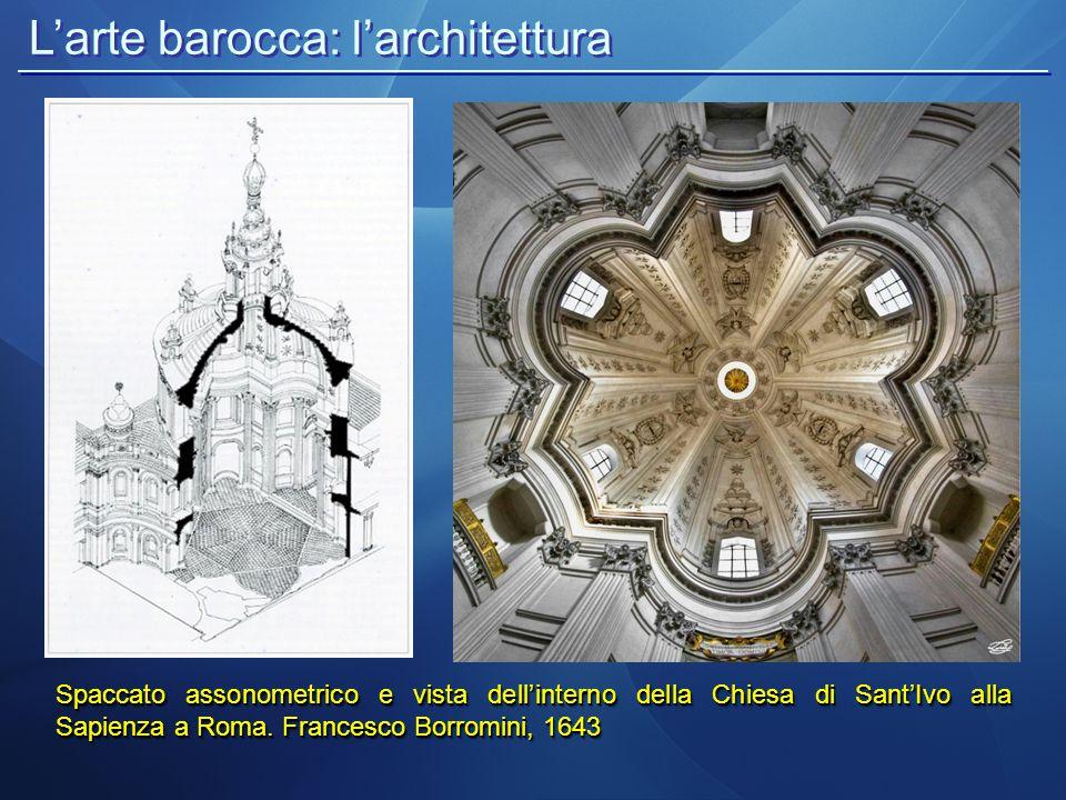 L'arte barocca: l'architettura Spaccato assonometrico e vista dell'interno della Chiesa di Sant'Ivo alla Sapienza a Roma. Francesco Borromini, 1643