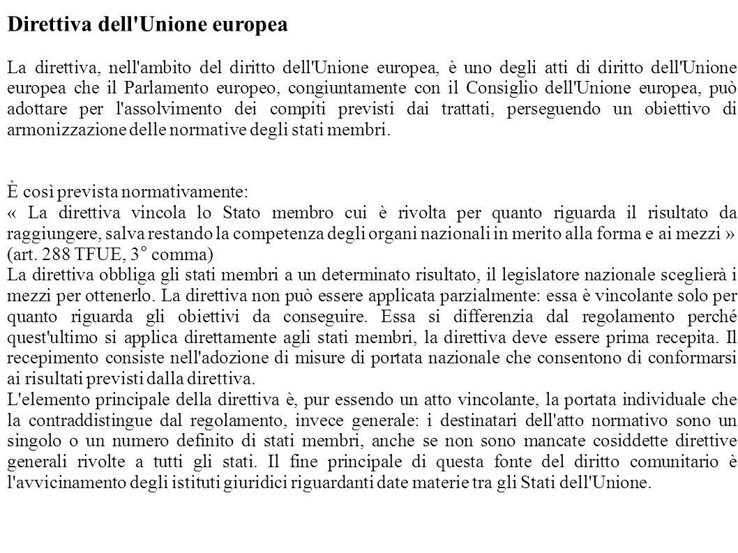 Direttiva dell'Unione europea La direttiva, nell'ambito del diritto dell'Unione europea, è uno degli atti di diritto dell'Unione europea che il Parlam