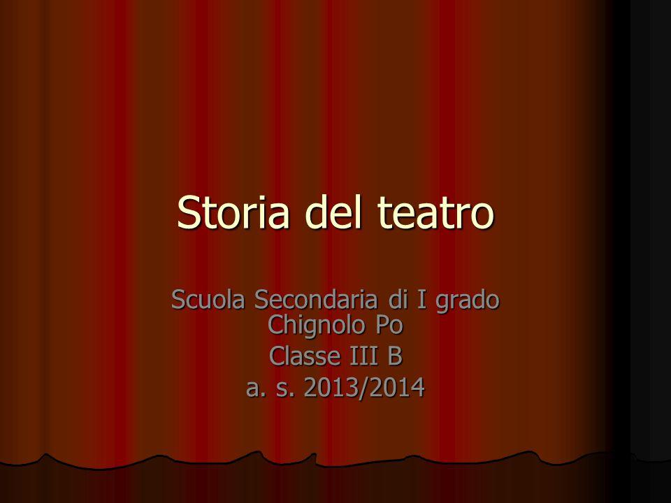 Storia del teatro Scuola Secondaria di I grado Chignolo Po Classe III B a. s. 2013/2014