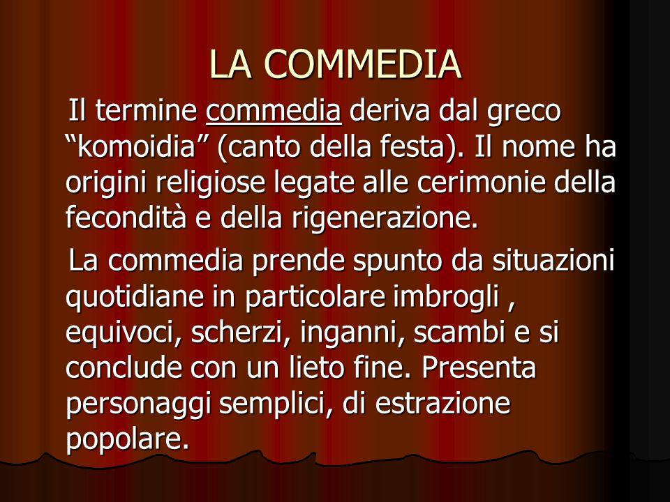 """LA COMMEDIA Il termine commedia deriva dal greco """"komoidia"""" (canto della festa). Il nome ha origini religiose legate alle cerimonie della fecondità e"""