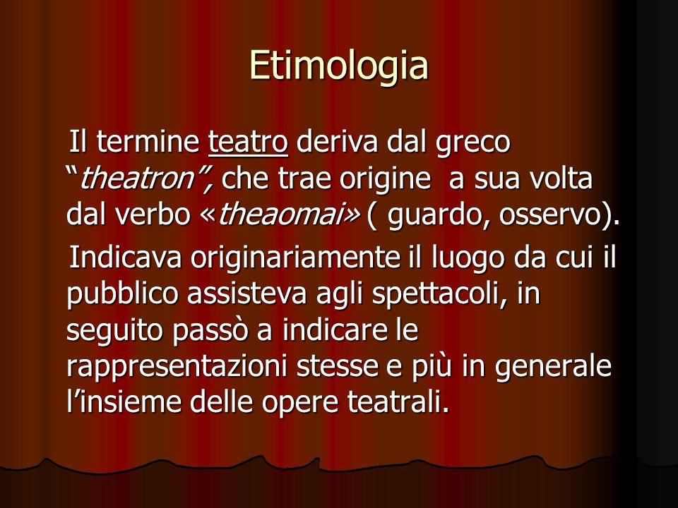 """Etimologia Il termine teatro deriva dal greco """"theatron"""", che trae origine a sua volta dal verbo «theaomai» ( guardo, osservo). Il termine teatro deri"""