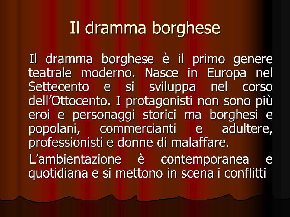 Il dramma borghese Il dramma borghese è il primo genere teatrale moderno. Nasce in Europa nel Settecento e si sviluppa nel corso dell'Ottocento. I pro