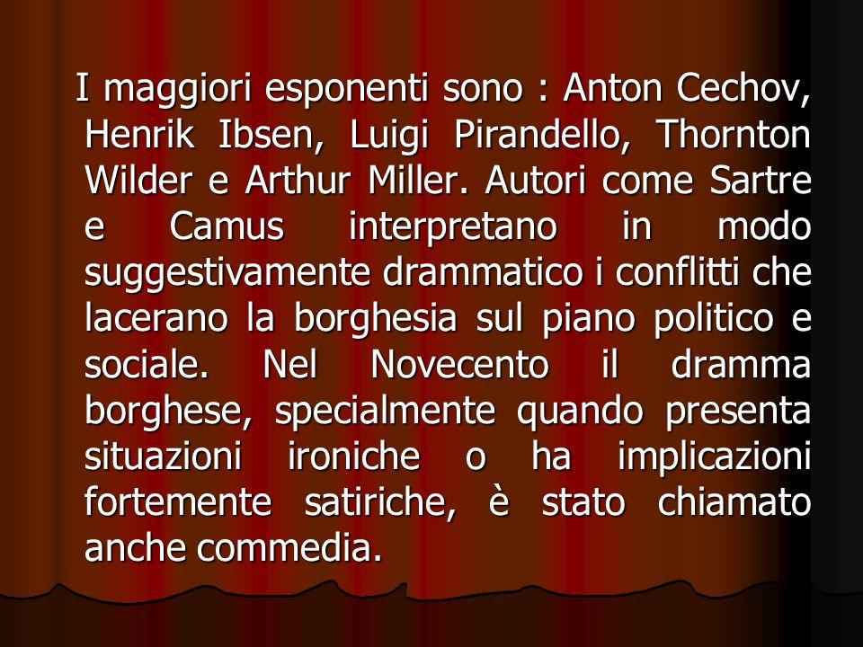 I maggiori esponenti sono : Anton Cechov, Henrik Ibsen, Luigi Pirandello, Thornton Wilder e Arthur Miller. Autori come Sartre e Camus interpretano in