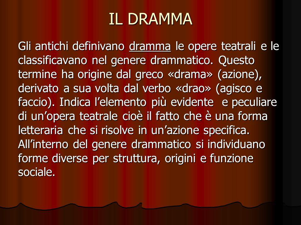 IL DRAMMA Gli antichi definivano dramma le opere teatrali e le classificavano nel genere drammatico. Questo termine ha origine dal greco «drama» (azio