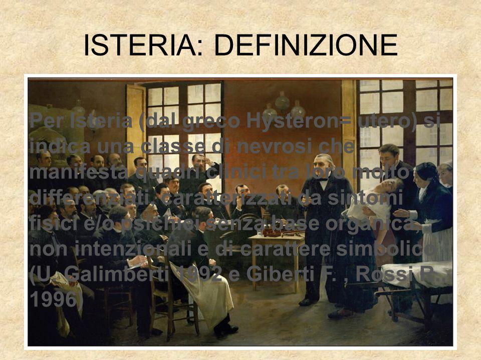 ISTERIA: DEFINIZIONE Per Isteria (dal greco Hysteron= utero) si indica una classe di nevrosi che manifesta quadri clinici tra loro molto differenziati