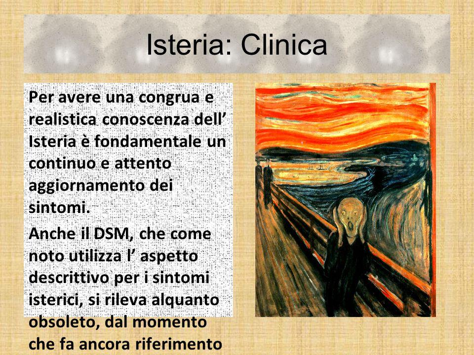 Isteria: Clinica Per avere una congrua e realistica conoscenza dell' Isteria è fondamentale un continuo e attento aggiornamento dei sintomi. Anche il